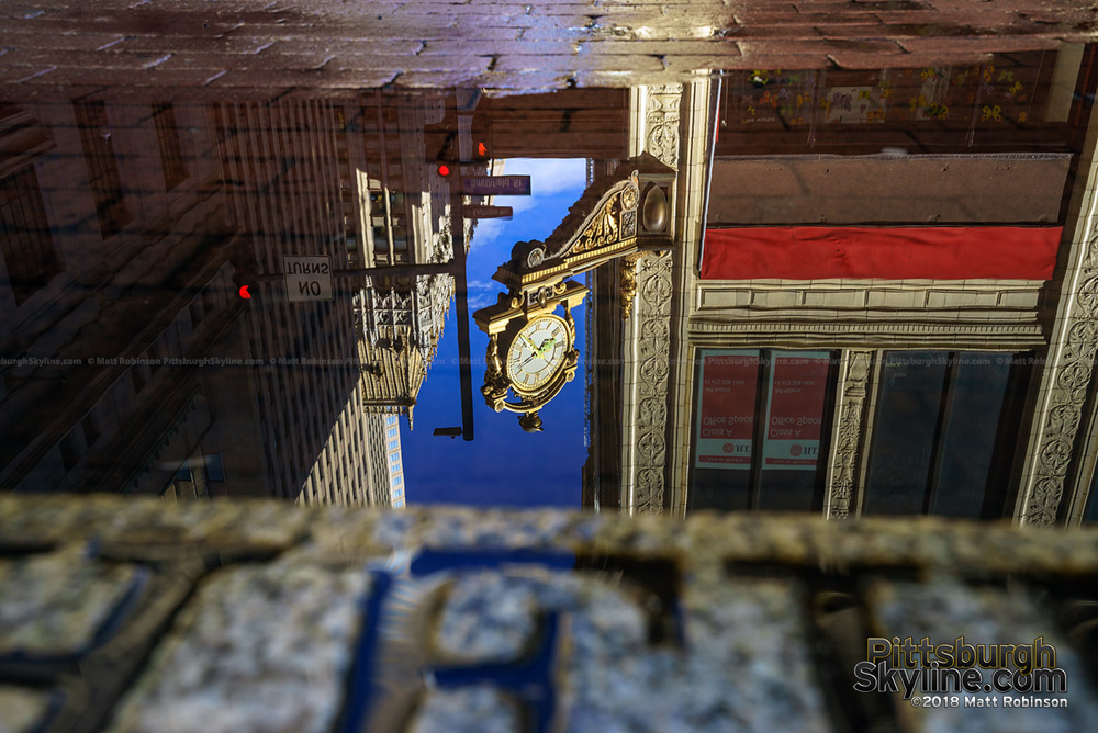 Kaufmann's Clock reflection