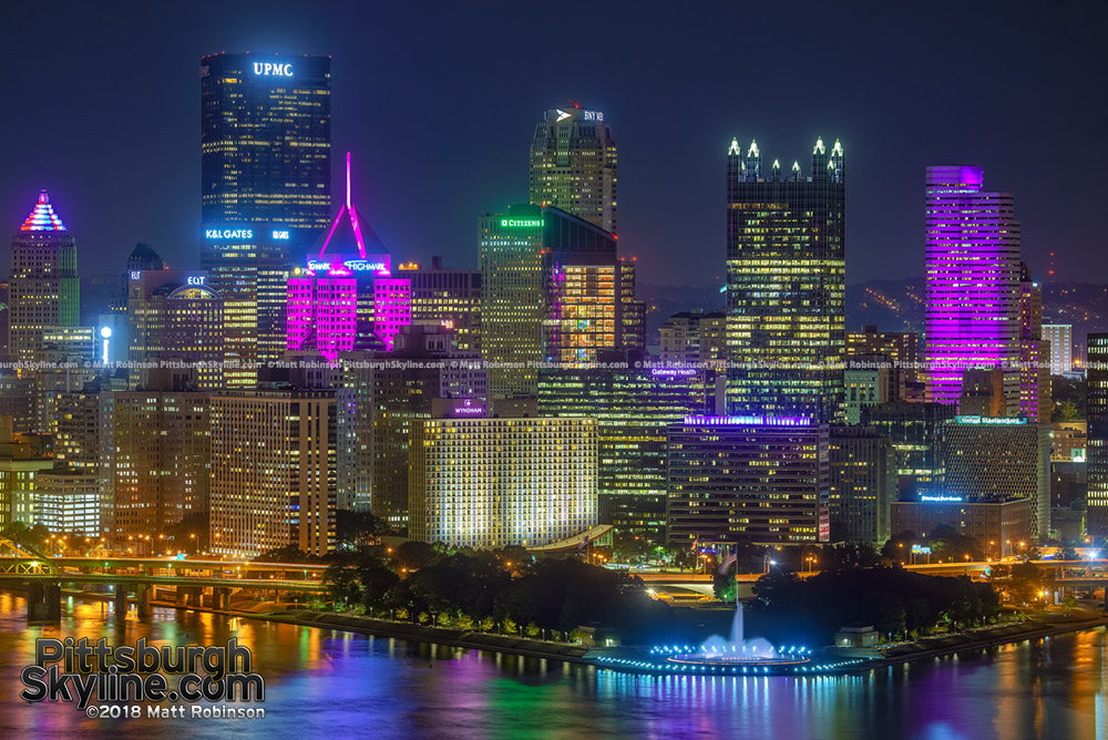 Pittsburgh skyline in Pink