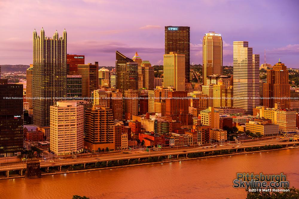Golden sunset Pittsburgh from Mt Washington